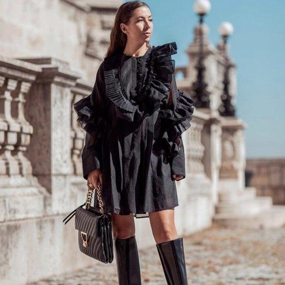 H&M STUDIO COLLECTION BLACK FLOUNCED RUFFLE DRESS